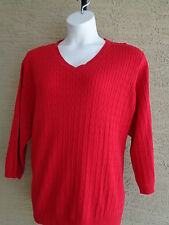 Kim Rogers Cotton Cable Knit V Neck 3/4 Sleeve Sweater 3X Red msrp $46.00