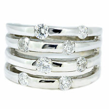 14k White Gold 4 Row Diamond Cocktail Ring F Color Si Clarity %100 Natural