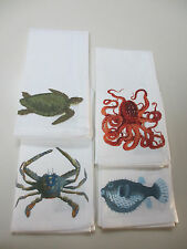Pottery Barn PLAYA SEA LIFE NAPKINS Set of 4 NEW w/ TAGS Octopus Crab FishTurtle