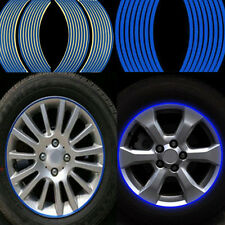 16 Strips Blue Reflective Tape Motorcycle Car Wheel RIM Stripe Decal Sticker New