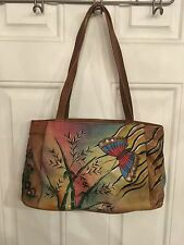 Anuschka Hand-Painted Leather Zip Top Double Handle Tote Bag Butterfly Bamboo