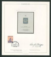 NORWAY No. 1 OFFICIAL REPRINT UPU CONGRESS 1984 MEMBERS ONLY !! RARE !! z1599