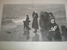Anxiety Julius M Price 1887 old print women children watch the sea
