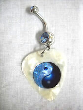 NEW BABY BLUE & DARK BLUE YIN & YANG PEARLY WHITE GUITAR PICK BLUE CZ NAVEL RING