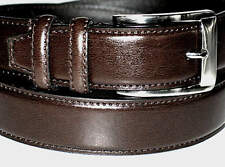 """Smooth BROWN Leather TRADITIONAL 2 LOOP Dress Belt Silver Buckle 38"""" x 1 1/4"""""""