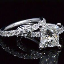 1.90 ct. Natural Princess Cut Pave Engagement Set - GIA Certified & Appraised