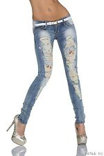 Women Jeans Straight Jeans Stretchable Faded Jeans with Belts UK Size 10 EU 38