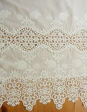 1 yd Vintage Style Embroidery Cotton Eyelet Lace Fabric Off White 70cm Wide