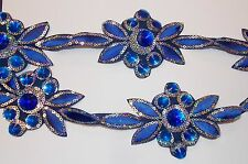 blue Jewel Sequin Indian wedding dance costume ribbon mesh rhinestone applique