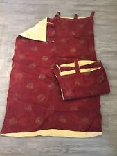"""Lined Thick Tab Top Curtains In Red With Yellow Back 48"""" Drop Home Decor"""