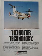 5/1989 PUB BELL BOEING TILTROTOR TEAM V-22 OSPREY FIRST FLIGHT ORIGINAL AD
