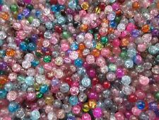 CRACKLE CRYSTAL GLASS BEADS,8 MM, 400 BEADS ASSORMENT OF COLOR