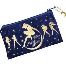 Official Sailor Moon Velvet Fashion Purse Zip Pouch Pencil Case Luna Kawaii UK