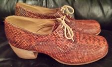 MEN'S VINTAGE 70's HIGH HEELED SHOES ENGLISH SIZE 9.5 ALL REAL SNAKE SKIN BROWN