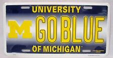 UNIVERSITY OF MICHIGAN GO BLUE ALUMINUM METAL CAR TRUCK AUTO TAG LICENSE PLATE
