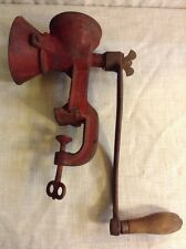 VINTAGE ANTIQUE RED CAST IRON TABLE CLAMP HAND CRANK COFFEE CORN WHEAT GRINDER