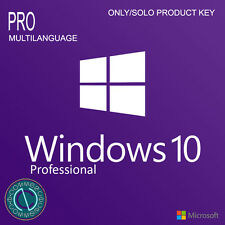 MICROSOFT LICENSE LICENZA PRODUCT KEY FOR SOFTWARE WINDOWS WIN 10 PRO 32 64 BIT