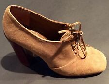 Tory Burch Womens Brown Suede Leather Lace-up Oxford Heels Size 9