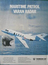 1/1984 PUB THOMSON CSF VARAN RADAR DASSAULT FALCON GUARDIAN MARINE ORIGINAL AD