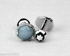 Montblanc Fine Jewelry 18k Solid White Gold Blue Faceted Chalcedony New Germany