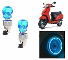 Skull Shaped Tyre Led Motion Sensor Blue Light For Honda Activa Scooty Set Of 2