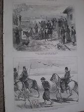 Rusia Turquía guerra 1st cañón de disparo en Danubio & turco prisioneros de impresión de 1877 W Ref