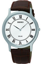 SEIKO SUP869P1,Men's Solar Quartz,Silver tone Stainless,Leather Strap,WR,SUP869