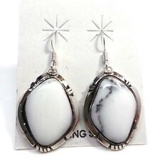 Navajo White Buffalo Turquoise St Silver French Hook Earrings By: Calvin Spencer
