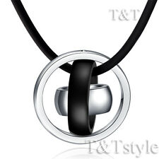 TTstyle Stainless Steel Three Lucky Ring Pendant Necklace Choose Colour