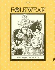 Folkwear 212 Five Frontier Shirts Western Men Women Sewing Costume Pattern