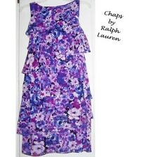 Ralph Lauren Chaps Floral Chiffon Tiers Dress Career Dinner Church Party  16