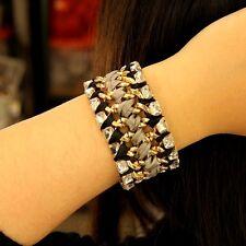 Bracelet Femme Tissu Tissage Cristal Original Soirée Mariage Cadeau CT3