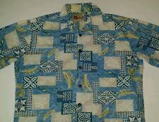 Hilo Hattie Hawaiian Shirt MenS L Button Front Honolulu Canoe Paddle Flower
