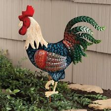 NEW ~ Metal Rooster Garden Stake Yard Lawn Art Outdoor Planter Decor Bird