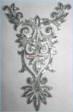 GB345 Silver Bodice Yoke Sequin Applique Floral Motif 9.75""