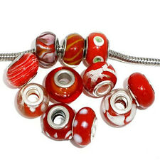 Pack of 10 Red MIX Lampwork Murano Glass Beads For Snake Chain Charm Bracelet.