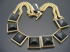 $195 Michael Kors Black Faceted Cabochon Curb Chain Glam Rock Statement Necklace