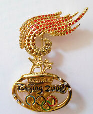 China Beijing 2008 Olympic Game collection Torch Relay crystal brooch badge pin