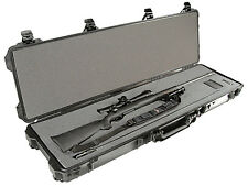 "Pelican 1750 Waterproof 50"" Rifle Long Gun Hard Travel Gun Case w Foam Black New"
