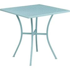 Flash Furniture 28 In. Square Sky Blue Indoor-Outdoor Steel Patio Table NEW