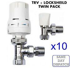 "X10 Thermostatic Radiator Valve Set 15mm x 1/2"" TRV Lockshield Valves*TWIN PACK*"