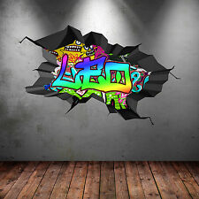 FULL COLOUR PERSONALISED 3D GRAFFITI NAME CRACKED WALL ART STICKERS DECALS MURAL
