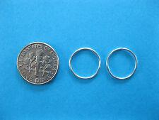 Pair of  Silver 20g 14mm Endless Hoop  Nose Rings, Ear Rings  Body Piercing
