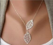Women Silver Leaf Pendant Charm Plated Party Chain Necklace Fashion Jewelry