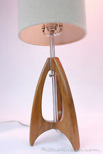 Teak Wood Rocket Table Lamp - Danish Modern - Mid-Century - Retro Grain -Atomic