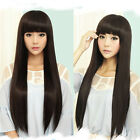 Women's Lady Long Straight Full Hair Wig Neat Bangs Cosplay Party Silky Black
