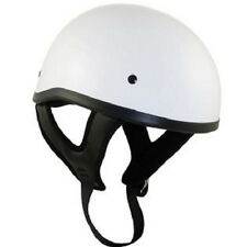 Outlaw Motorcycle Biker DOT Skull Cap Half Helmet Glossy White MEDIUM