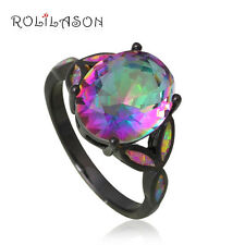 OR765#6 Rainbow Topaz Pink Fire Opal Black Gold Zircon Fashion Jewelry Rings