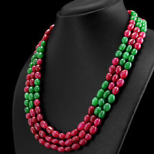 539.50 CTS EARTH MINED 3 LINE RED RUBY & GREEN EMERALD OVAL SHAPE BEADS NECKLACE