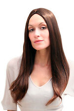 Peluca de mujer braun largo liso estricto Raya en medio aprox. 60 cm Wig